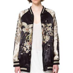 Zara Embroidered Reversible Satin Bomber Jacket